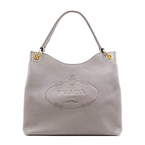 Prada Women's Vitello Daino Grey Leather Satchel Bag Handbag 1BC051