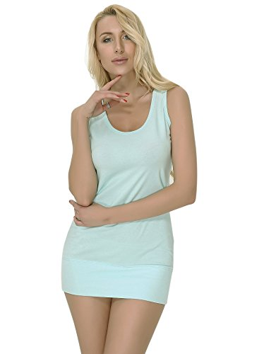 Moxeay Womens Extra Long Stretch Cotton Tank Top (Large, Mint)