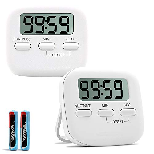 Sunnyac Digital Kitchen Timer, Small Magnetic Timers with LCD Display and Stand, Minute Second Count Up Countdown Timer with Loud Alarm, Visual Stopwatch for Cooking, Including AAA Battery, White (Battery Digital Timer Watch)