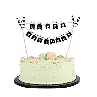 LXZS-BH LVEUD Panda and Rabbit Decoration Mini Happy Birthday Cake Topper Banner - Party Cake Decoration Supplie (Black): Toys & Games