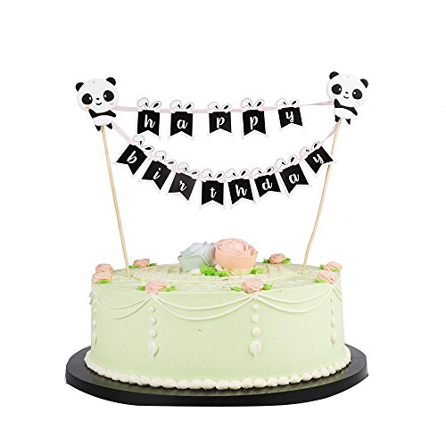 LVEUD Panda and Rabbit Decoration Mini Happy Birthday Cake Topper Banner - Party Cake Decoration Supplie (Black)