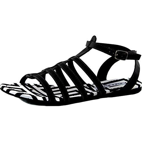 Womens Gladiator Uformell Flats Sandaler Ankelen Stropp Spenne Sebra Polstret Sommer Strand Mote Sko Svart Pu