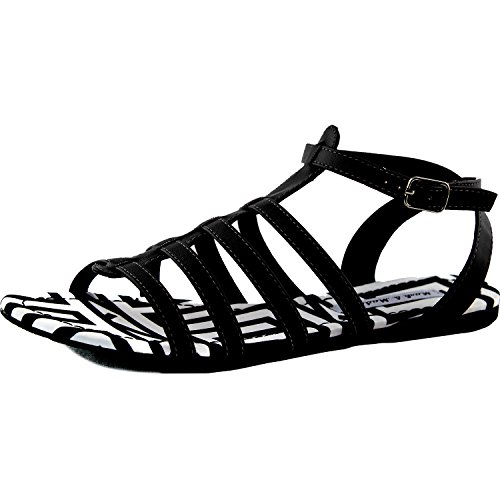Vrouwen Gladiator Casual Flats Sandalen Enkelbandje Gesp Zebra Gevoerde Zomer Strand Mode Schoenen Zwart Pu