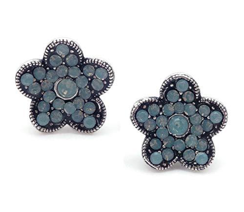 Catherine Popesco Pacific Opalescent Swarovski Crystal Flower Silvertone Stud Post Earrings
