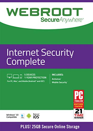 Webroot Internet Security Complete with Antivirus Protection - 2019 Software | 5 Device | 1 Year Subscription | PC/Mac CD with Keycard
