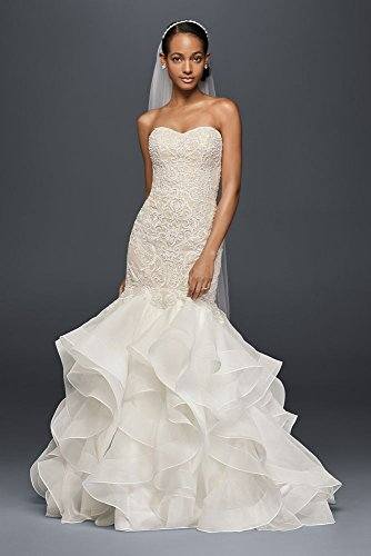 Sample: As-is Scroll Lace Trumpet Wedding Dress Style AI14010563, Ivory, 12 -