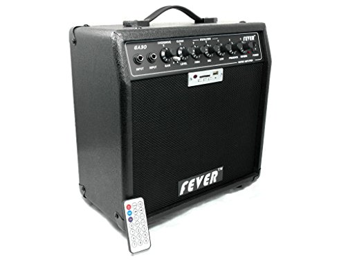Amplifier Combo 30 Watt (Fever GA-30 30 Watts Guitar Combo Amplifier with USB and SD Audio Interface with Remote Control)