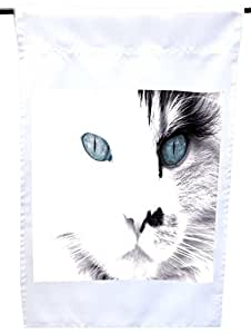 Rikki Knight White Cat with Blue Eyes House or Garden Flag, 12 x 18-Inch Flag Size with 11 x 11-Inch Image