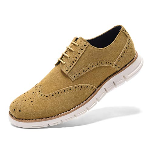 Men's Oxford Sneaker Dress Shoes-Stylish Wingtip Brogue Oxfords Casual Suede Shoes Work Travel Gift khaki-10 D (M) US (Sneaker Beige Suede Shoes)