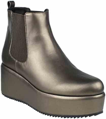 109f92f8cbe BESTON EI54 Women s Elastic Panels Pull On Platform Wedge Ankle Chelsea Boot