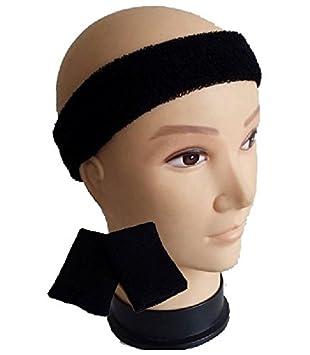 2bf961c5cc35 Childrens Kids Neon Headband Sweatband   Wristbands 1980s 80s Fancy Dress  (Black)