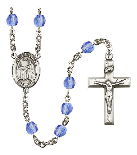Silver Plate Rosary features 6mm Sapphire Fire Polished beads. The Crucifix measures 1 3/8 x 3/4. The centerpiece features a St. Valentine of Rome medal. Patron Saint Love