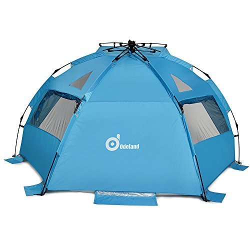 """Beach Tent, ODOLAND 94""""x78"""" Easy Up Beach Tent Pop Up Sun Shelter UPF 50+ Sun Protection Polyester Tent for Kids, Family, Beach, Camping"""