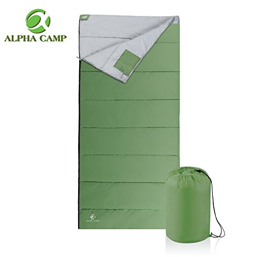 23f Mummy - ALPHA CAMP Lightweight Envelope Sleeping Bag for 3 Season Camping Backpacking Hiking Temp Rating 23F-59F