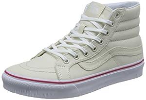 Vans SK8 Hi Slim Leather Canvas Bone/True White Women's Skate Shoes Size 8.5