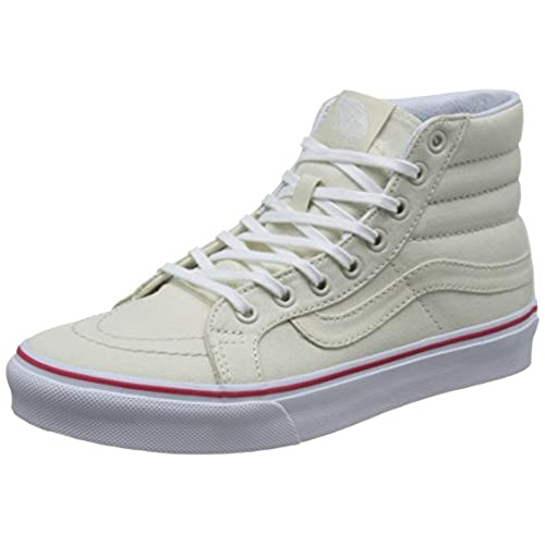 432d9d762f Vans SK8 Hi Slim Leather Canvas Bone True White Women s Skate Shoes Size 8  good