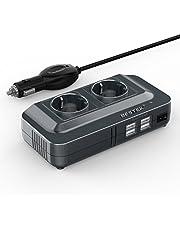 Inversor de Corriente 200W, BESTEK Transformador 12V a 220V con 4 Salidas USB, 2 AC Tomas Y Encendedor, Convertidor Onda sinusoidal con Protección para Barco, Caravana,Coche