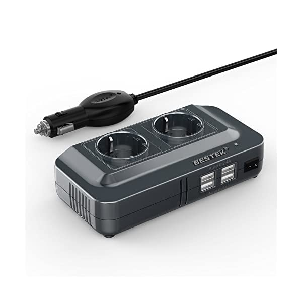 410njdstQaL BESTEK 200W KFZ Spannungswandler 12V auf 230V Wechselrichter mit 2 Steckdosen und 4 USB Autoladegerät inkl…