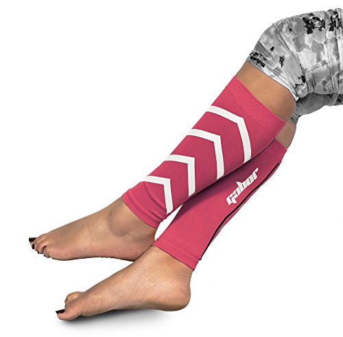Gabor Fitness Graduated 20-25mm Hg Compression Running Leg Sleeves, Large, Pink