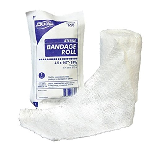 FLUFF BANDAGE ROLL-STERILE 4.5'' 8PLY- CASE OF 100 by Dukal
