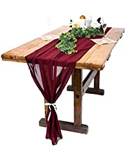 A-DECOR 10 Ft Chiffon Table Runner Overlay for Wedding Party Bridal or Baby Shower Decorations Romantic Boho Rustic Style 27 x 120 Inches Long (Burgundy)