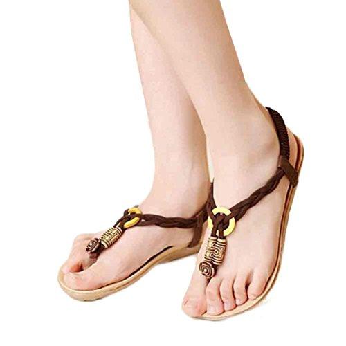 Sandalias Amiley Chanclas De Zapatillas Para Mujer, Summer Bohemia Sweet Beaded Sandals Coffee