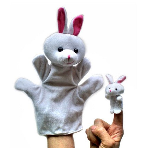 2Pcs (1 Big+1 Small) Lovely Kids Baby Plush Toys Finger Puppet Talking Props Animals Hand Puppets^rabbit.