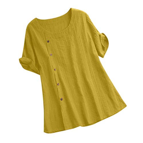 JustWin Women Loose Solid Color Cotton and Linen O-Neck Short Sleeve Plus Size Button Lightweight Elegant Shirt Yellow