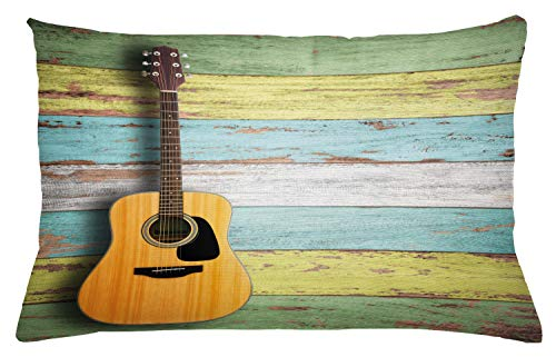 """Ambesonne Music Throw Pillow Cushion Cover, Acoustic Guitar on Colorful Painted Aged Wooden Planks Rustic Country Design Print, Decorative Rectangle Accent Pillow Case, 26"""" X 16"""", Yellow Green"""