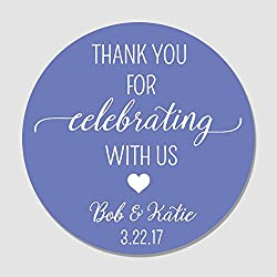 40 Totally Customizable Wedding Favor Label Stickers - Thank You For Celebrating With Us Favor Tags - Personalized Wedding, Shower, Party Favor Stickers