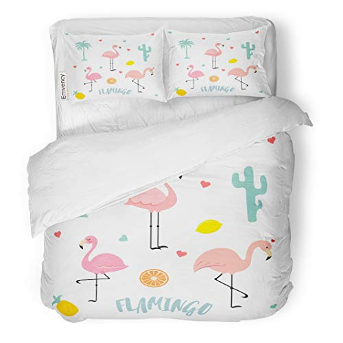 Semtomn Decor Duvet Cover Set Twin Size Green Cactus Flamingo Plants Fruit Orange Island Beautiful Cartoon 3 Piece Brushed Microfiber Fabric Print Bedding Set Cover
