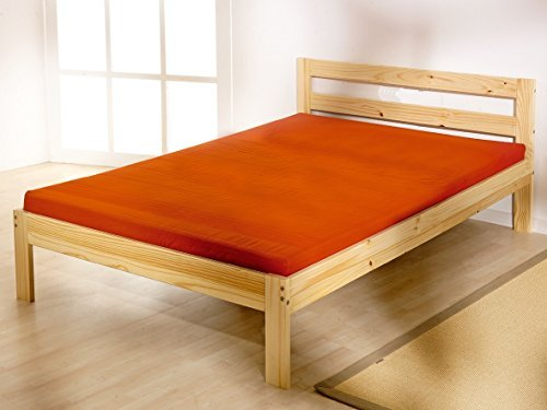 Double pine bed 4ft 6 bed frame- Solid Pine. Complete with solid base slats and centre rail by Strictly Beds Cleveland Double Bed (Complete Pine Center)
