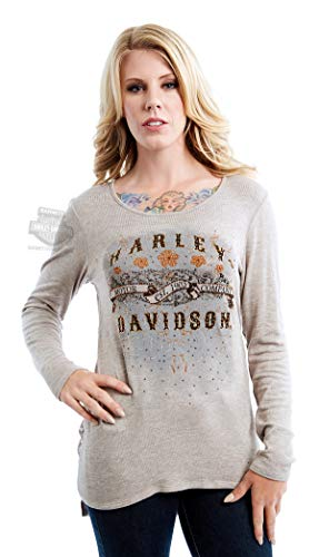 Harley-Davidson Womens Sepia Tones Banner with Back Drape Tan Long Sleeve (X-Large)