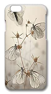 ACESR Custom iPhone 6 Cases, White Butterflies PC Hard Case Cover for Apple iPhone 6 (4.7 INCH) - 3D Design iPhone 6 Case