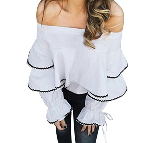 IMJONO Womens Off Shoulder Blouse Ladies Long Sleeve T-Shirts Casual Tops T-Shirt