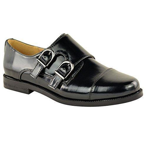 Mujeres Mocasines Vintage trabajo oficina colegio Náuticos Zapatos Plano Talla - Negro Alta Brillo, 36: Amazon.es: Zapatos y complementos