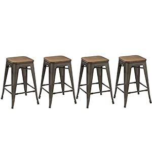 BTEXPERT 24-inch Industrial Stacking Tabouret Metal Vintage Antique Copper Rustic Distressed Dining Counter Bar Stool…