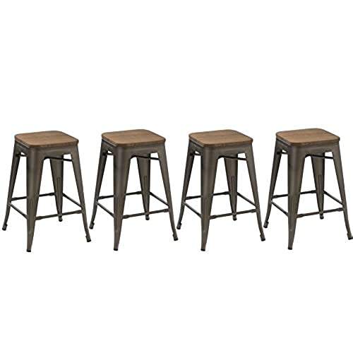 rustic bar stools. BTEXPERT 24-inch Industrial Metal Vintage Antique Copper Rustic Distressed Counter Height Bar Stool Modern - Handmade Wood Top Seat(Set Of 4 Barstool) Stools