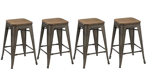 Finish Stool Bar Bronze Wood (BTEXPERT 24-inch Industrial Metal Vintage Antique Copper Rustic Distressed Counter Height Bar Stool Modern - Handmade Wood top seat(Set of 4 Barstool))