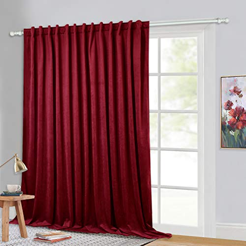 StangH Sliding Curtain Room Divider for Home Decor, Plush Velvet Blackout Insulated Window Drapery Extra Wide Noise Reducing Privacy Screen Partition Panel for Master Bedroom, W100 x L96-inch, 1 Pc (Velour Red Curtains)