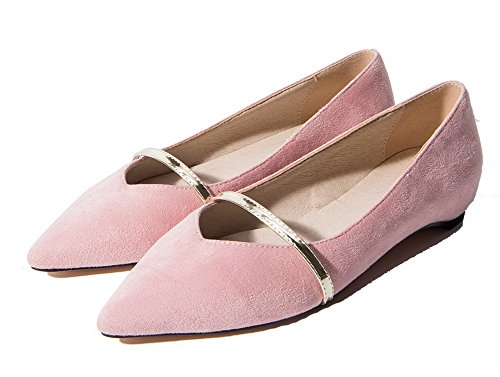 Women's Solid Pull WeenFashion Pumps Round On Shoes Low PU Heels Pink Toe 1AZqd