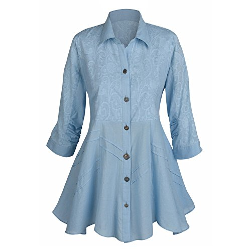 Women's Tunic Top - Soutache Sky Blue Button Down Collared Shirt - 1X