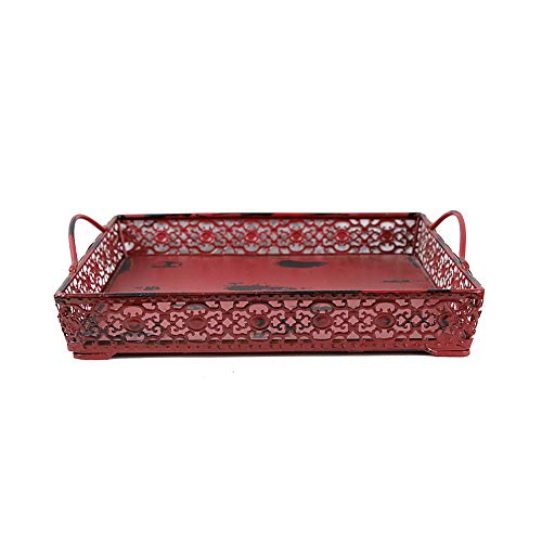 Waroom Home Vintage Style Metal Serving Tray, 11''x11'' Distressed Square Decorative Tray with Handles (Burgundy) (Tray Metal Decorative)