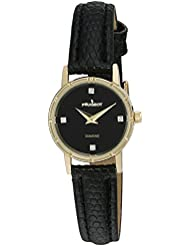 Peugeot Womens 3050BK 14K Gold Plated Genuine Diamond Marker Black Face Leather Dress Analog Display Analog Quartz...