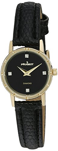 - Peugeot Women's 3050BK 14K Gold Plated Genuine Diamond Marker Black Face Leather Dress Analog Display Analog Quartz Black Watch