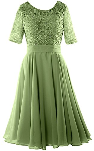 MACloth Women Half Sleeve Lace Formal Gown O Neck Midi Mother of the Bride Dress clover LlTNd