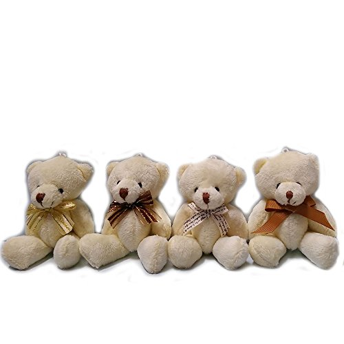 ZhinderLand Wholesale 12cm Plush Jointed Teddy Bear Package Of Assorted Bowtie Bears (12 pcs)