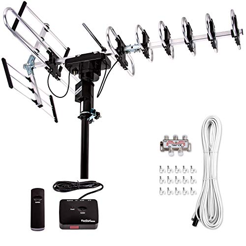 Best Five Star [Newest 2020] Outdoor Digital Amplified HDTV Antenna - up to 200 Mile Long Range, Directional 360 Degree Rotation by Remote Control, HD 4K 1080P FM Radio,Support 5 TVs Plus Installation Kit