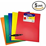5-Pack C-Line Two-Pocket Heavyweight Poly Portfolio with Prongs, For Letter Size Papers, Includes Business Card Slot, 5-pack with Pen Pal and Pen, Blue, Green, Orange, Red and Yellow