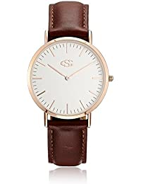 Rose Gold Tone Brown Genuine Leather Band Womem Wrist Watch Small